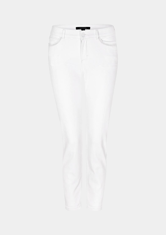 Artikel klicken und genauer betrachten! - Bund mit Gürtelschlaufen, Knopf und Reißverschluss, mit glitzerndem Effektgarn belegte Eingrifftaschen vorn sowie Coinpocket rechts, Sattelelement hinten, aufgesetzte Gesäßtaschen mit Abnähern, Sitzfalten auf den Oberschenkelpartien, die leichte Waschung sorgt für einen dezenten Used-Look, figurbetonende Skinny-Passform; Bundhöhe bei Größe 36 ca. 23 cm, aus Baumwoll-Mischgewebe mit Elasthananteil, | im Online Shop kaufen