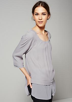 Edle 3/4-Arm Bluse im Lagenlook
