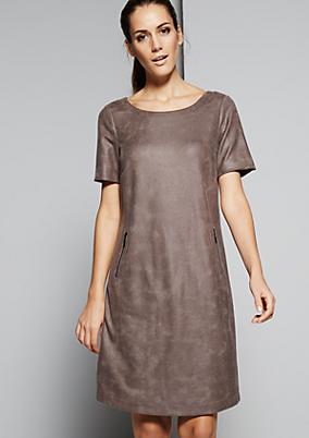 Extravagantes Kurzarmkleid aus weichem Fake-Leder