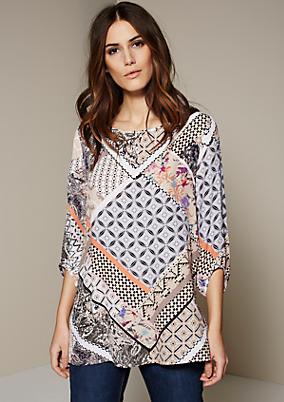 Lässige 3/4-Arm Bluse mit aufregendem Allover-Musterprint