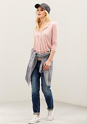 Legere 3/4-Arm Bluse mit Minimal-Allovermuster