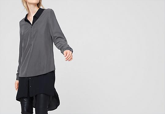 Materialmix-Bluse mit Spitze von s.Oliver