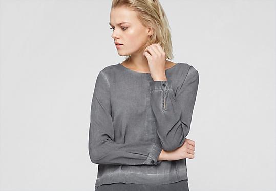 Materialmix-Bluse mit Wascheffekt von s.Oliver