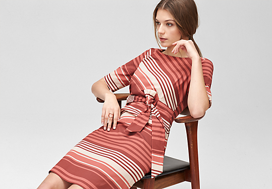 Patterned dress with a draped effect from s.Oliver