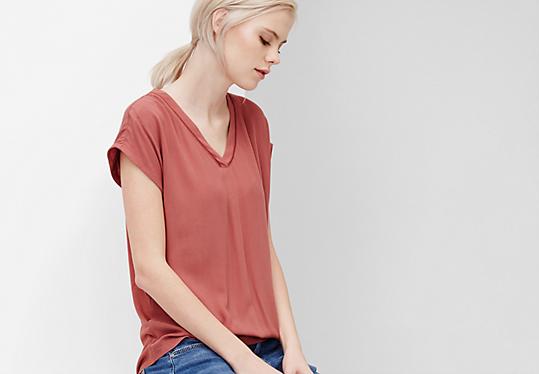 Vokuhila-Blusenshirt mit Crêpe von s.Oliver
