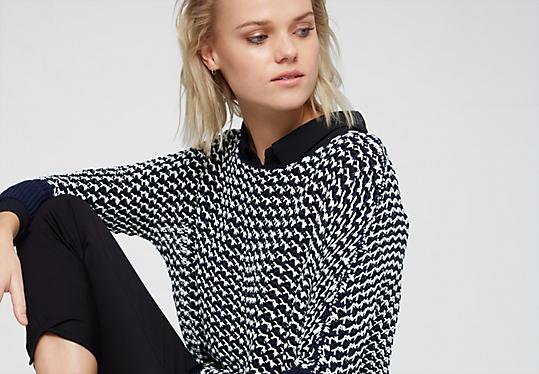pullover mit muster f r damen bequem im s oliver online shop kaufen. Black Bedroom Furniture Sets. Home Design Ideas