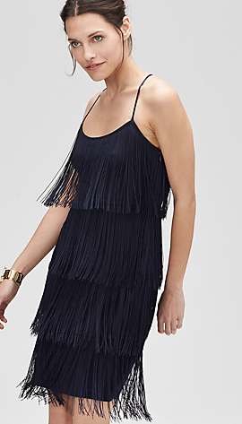 Stretch dress with fringing from s.Oliver