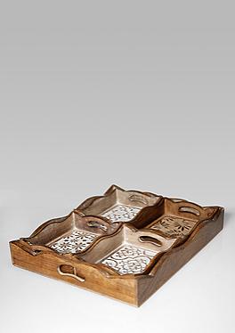 5-teiliges Tablett-Set aus Holz von s.Oliver