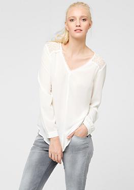 Bluse mit Spitze und Pompom-Saum von s.Oliver