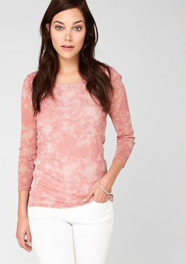 Mesh-Shirt mit Musterprint von s.Oliver