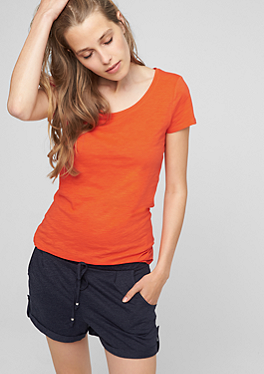 Slub yarn T-shirt with a round neck from s.Oliver