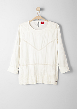 Stitching-Bluse mit Lochmuster von s.Oliver