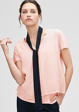 T-Shirt mit Chiffon-Layering von s.Oliver