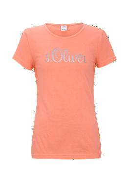 Tailliertes Shirt mit Glitzer-Logo von s.Oliver