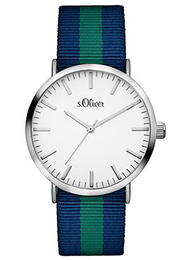 Uhr mit gestreiftem Textilband von s.Oliver