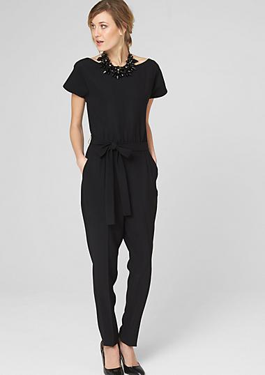 elegante jumpsuit met een bindceintuur bestellen s oliver online shop. Black Bedroom Furniture Sets. Home Design Ideas