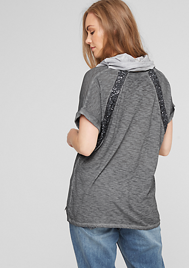 pailletten shirt mit schal kaufen s oliver shop. Black Bedroom Furniture Sets. Home Design Ideas
